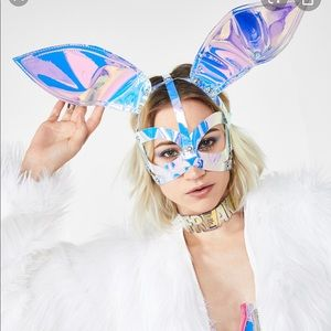 Holographic bunny ears edc rave